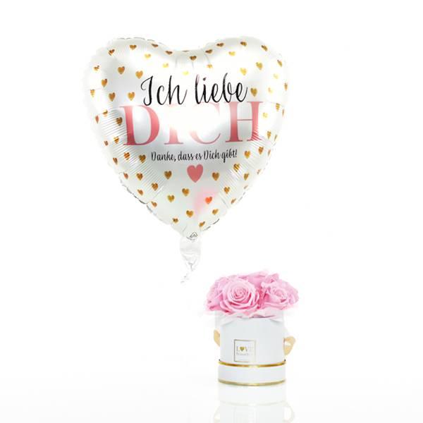 Flowerbox Set Bouquet | Small | Rosen Bridal Pink | Heliumballon