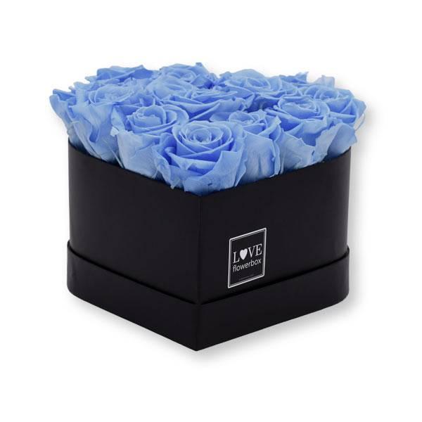 Flowerbox Herz   Medium   Rosen BabyBlue (Hellblau)