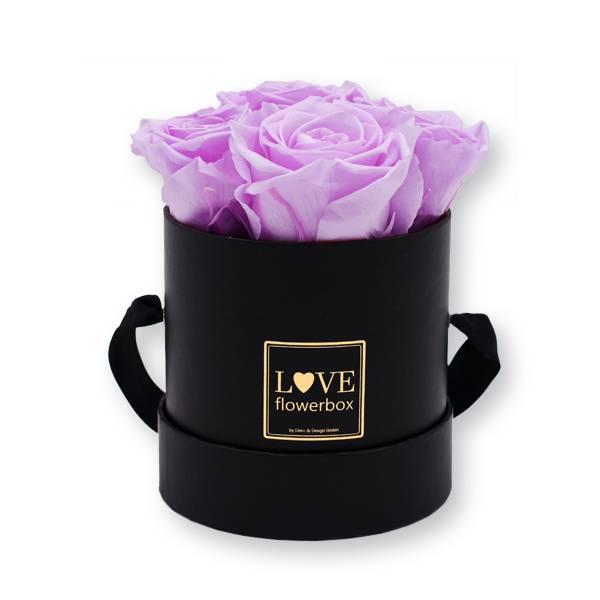Flowerbox_rosenbox_blumenbox_rund_Small_schwarz_gold_Infinity_Rosen_babylili_flieder.jpg