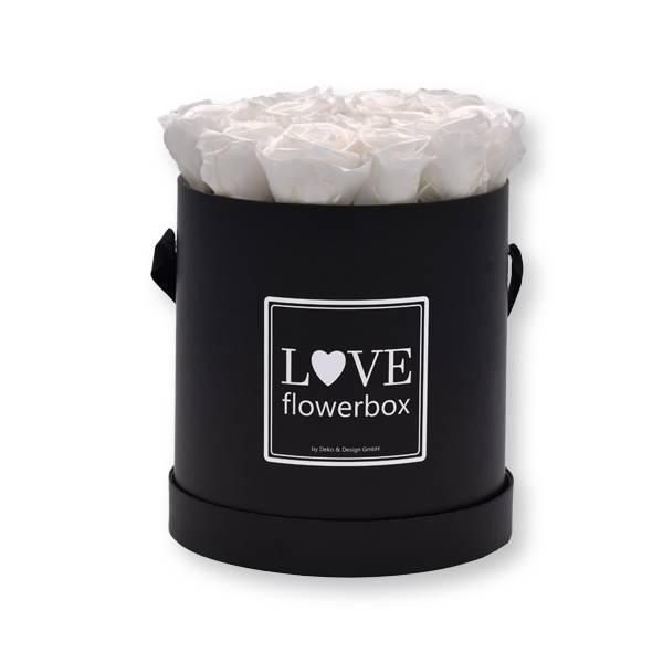 Rosenbox Infinity Rosen weiß | Flowerbox | Blumenbox | Large Modern black