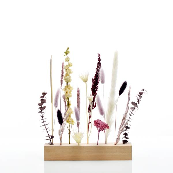 Trockenblumen | Blütenleiste | Holzleiste | Naturschönheit | Geschenk | Geschenkidee | Pampasgras, Lagurus