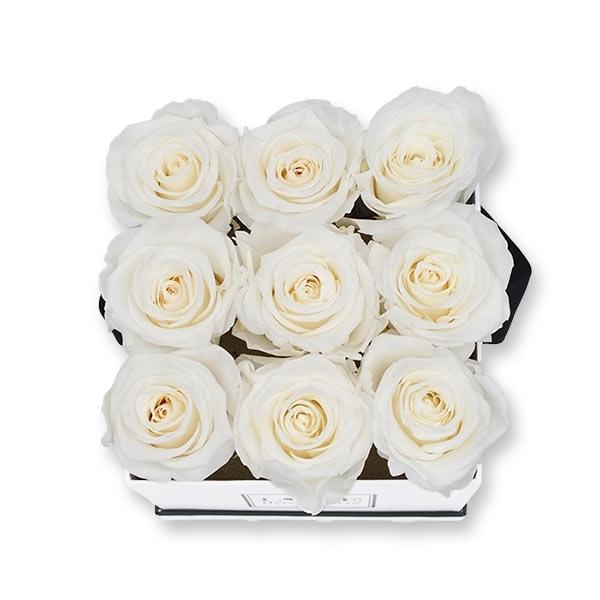 Rosenbox Infinity Rosen weiss | Flowerbox eckig | M Modern white