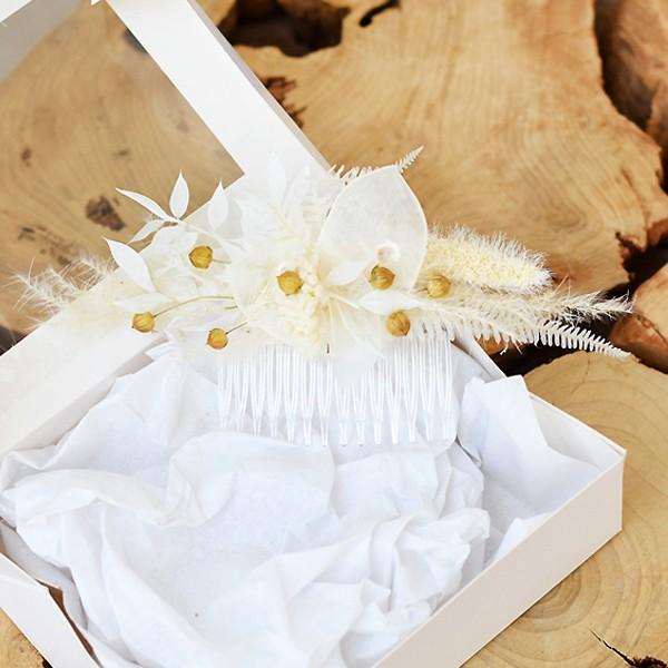 Trockenblumen Haarkamm   Boho Traum   weiss-creme-natur