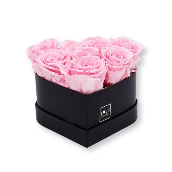 Rosenbox Herz Infinity Rosen rosa | Flowerbox Herzbox | S black