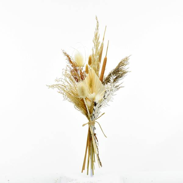 Trockenblumenstrauß Boho Liebe M | Trockenblumen weiss-natur-braun | Pampasgras, Schilfkolben, Palmspear