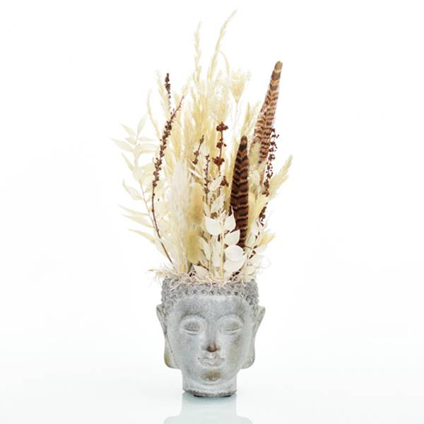 Trockenblumen Gesteck | Buddhakopf grau | Naturglück | weiss-natur-braun | Pampasgras, Fasanenfeder, Ruskus, Palak Stick, Lagurus, Samtgras