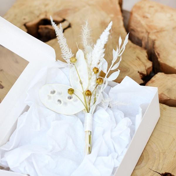Trockenblumen Anstecker | Boho Traum | weiss-creme-natur