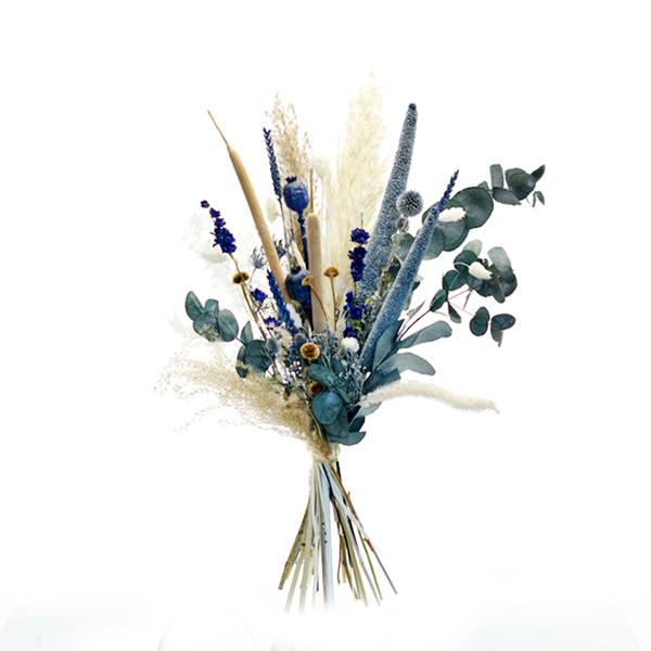 Trockenblumenstrauß Wasserspiel L | Trockenblumen weiss-natur-blau
