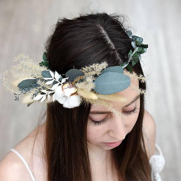 Trockenblumen Kopfkranz Braut | Trauzeugin | Natur Pur | weiss-natur-grün | Eukalpytus, Ruskus, Lagurus, Pampasgras