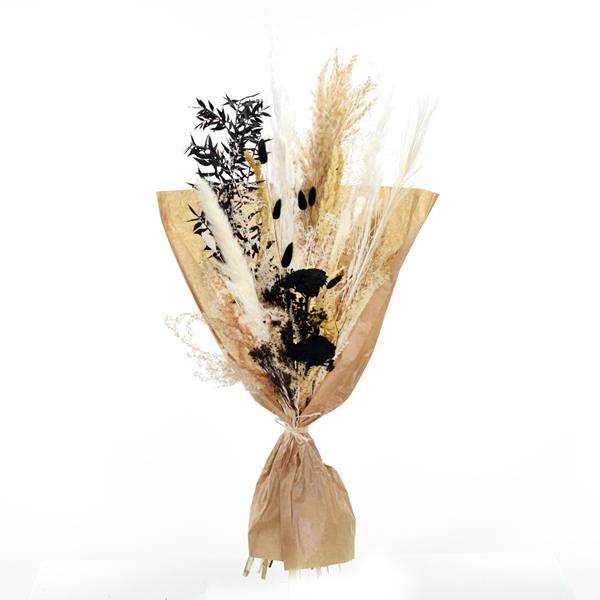 Trockenblumenstrauß Schwarz und Weiß L