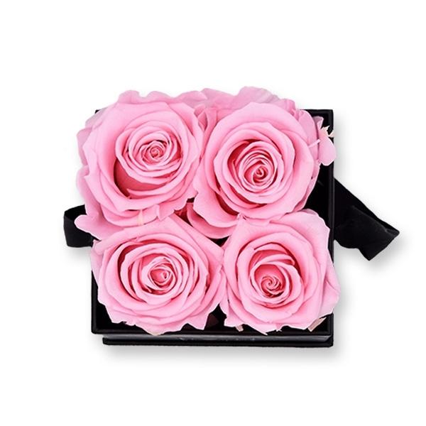 Rosenbox Infinity Rosen rosa | Flowerbox eckig | S Modern black