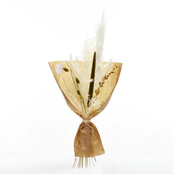 Trockenblumenstrauß Goldene Eleganz M | Trockenblumen weiss-gold