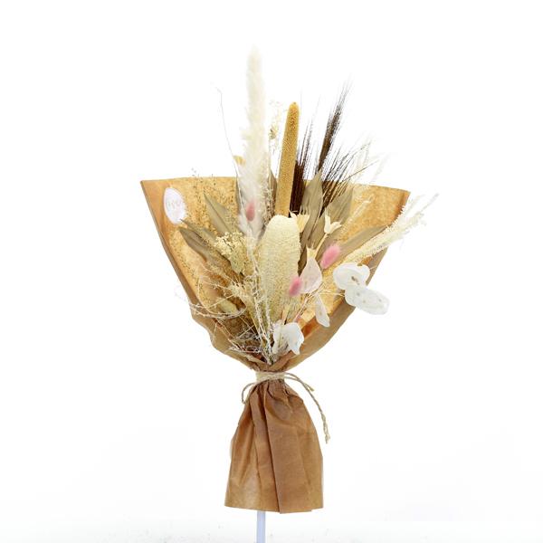 Trockenblumenstrauß Zarte Versuchung M | Trockenblumen weiss-natur-rosa-braun