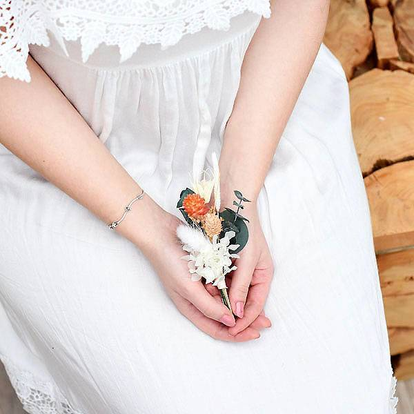 Trockenblumen Anstecker Bräutigam | Hochzeit | Pastellzauber | weiss-aprikot-grün