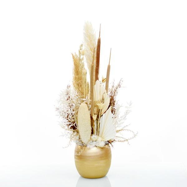 Trockenblumen Gesteck | Keramik Topf grau | Boho Liebe gold | gold-natur-braun