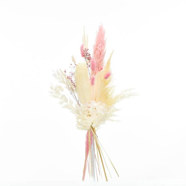 Trockenblumenstrauß Zartliebe M | Trockenblumen weiss-ivory-natur-rosa | Pampas, Luffa, Lagurus