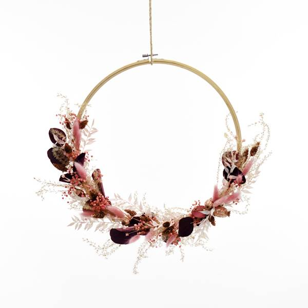 Trockenblumenkranz | Rosegoldglanz | Holz-Stickrahmen 35cm | Trockenblumen rosa-beere-rosegold | Eukalpytus Popolus rot, Pampasgras
