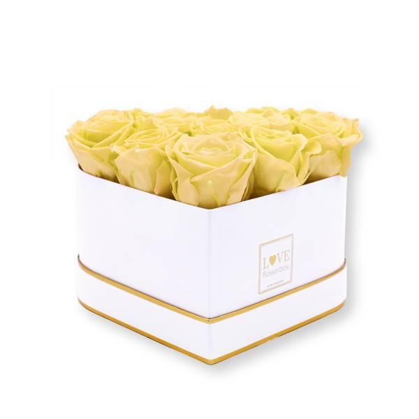 Rosenbox Herz Infinity Rosen aprikot | Flowerbox Herzbox | M white gold