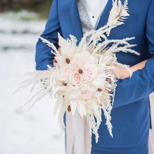 Trockenblumen Brautstrauß | Brautstrauss Trockenblumen | weiss | rose