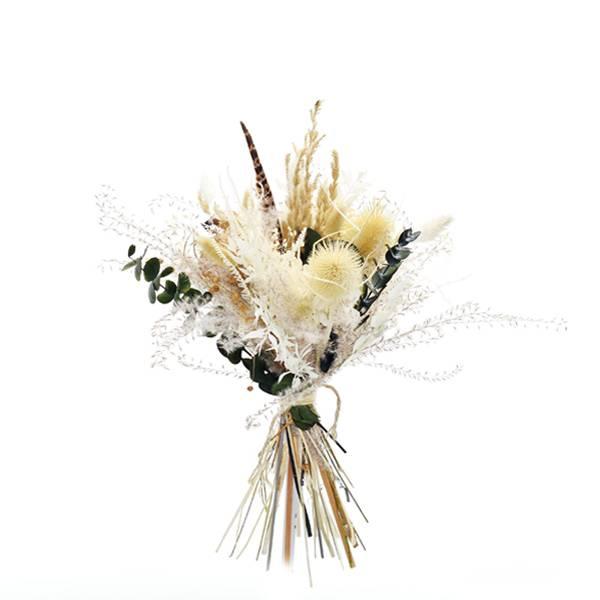 Trockenblumenstrauß Heimatliebe L | Trockenblumen weiss-natur-braun-grün | Eukalyptus, Pampas, Fasanenfeder