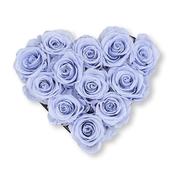 Rosenbox Herz Infinity Rosen eis blau   Flowerbox Herzbox   M black