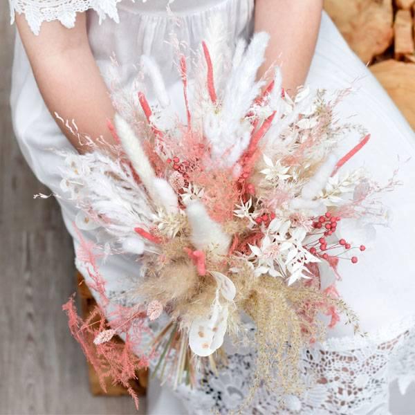 Trockenblumen Brautstrauß | Brautstrauss Trockenblumen | rosa pastell