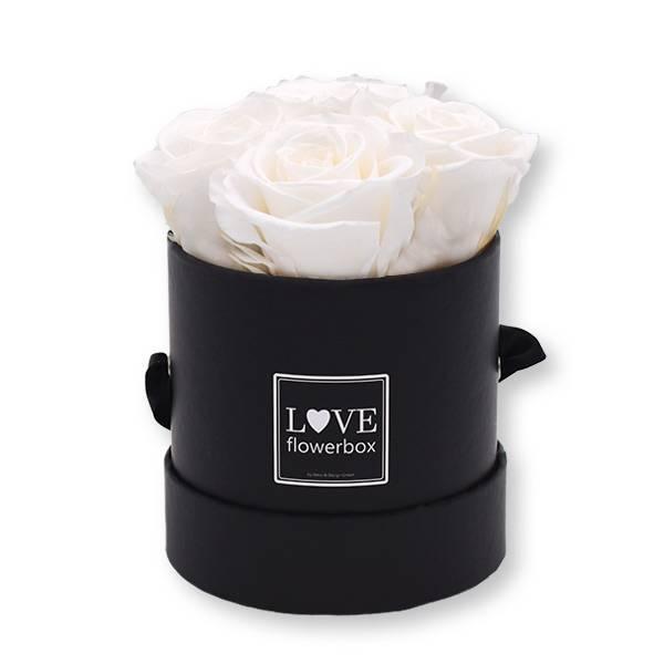 Rosenbox Infinity Rosen weiß   Flowerbox   Blumenbox   Small Modern black