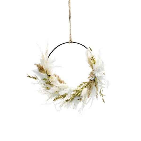 Trockenblumenkranz | Hoop | Goldene Eleganz| schwarz 15 cm | Trockenblumen weiss-gold | Pampasgras gebleicht, Hafer gols, Lunaria, Lagurus