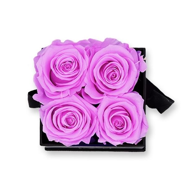 Rosenbox Infinity Rosen flieder   Flowerbox eckig   S Modern black