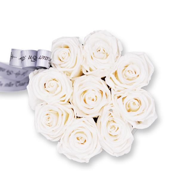 Rosenbox Trauer Infinity Rosen weiß   Medium   Trauergeschenk Beerdigung