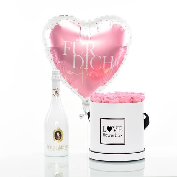 Flowerbox Set Modern | Large | Rosen Baby Pink | Heliumballon | Sekt