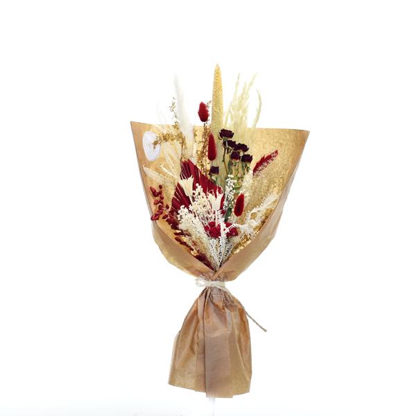 Trockenblumenstrauß Rote Verführung M | Trockenblumen weiss-natur-rot