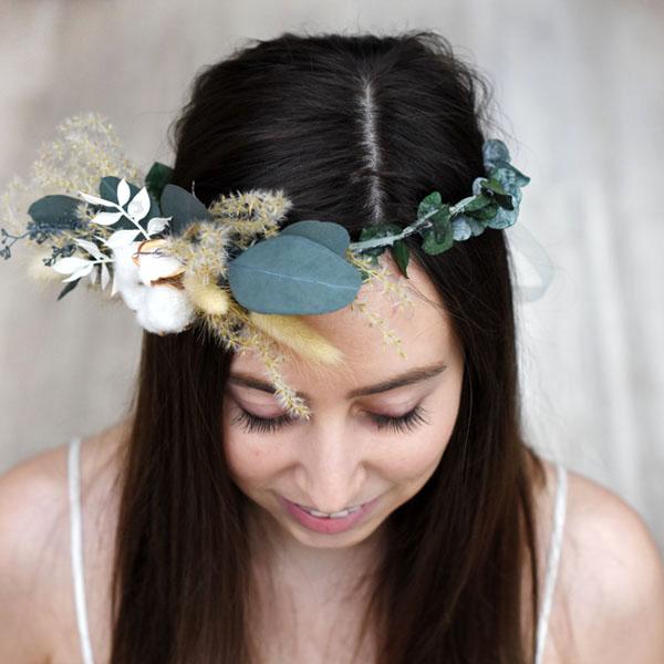 Trockenblumen Kopfkranz Braut | Trauzeugin | Natur Pur | weiss-natur-grün