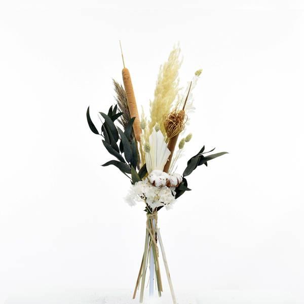 Trockenblumenstrauß Wilde Liebe M | Trockenblumen weiss-natur-grün-braun | Pampasgras, Eukalyptus, Schilfkolben, Leo Print