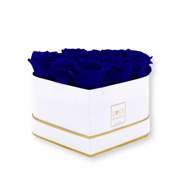 Rosenbox Herz Infinity Rosen dunkelblau | Flowerbox Herzbox | M white gold