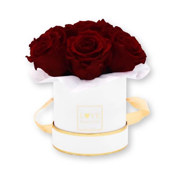 Flowerbox Bouquet gold | Small | Rosen Burgundy (Bordeaux)