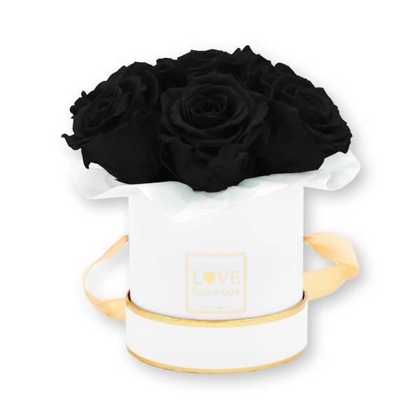 Flowerbox_rosenbox_blumenbox_rund_Small_weiss_gold_Bouquet_Infinity_Rosen_black_schwarz_1.jpg