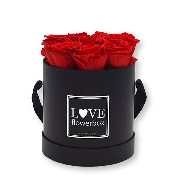 Flowerbox_rosenbox_blumenbox_rund_Medium_schwarz_Infinity_Rosen_vibrantred_rot.jpg