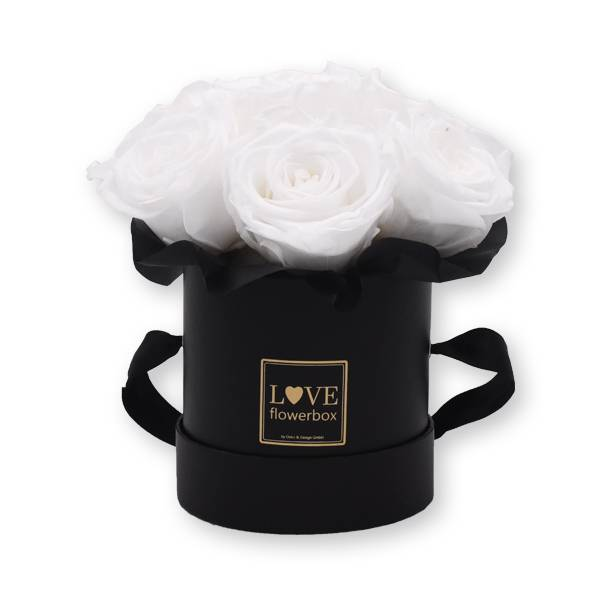 Flowerbox Bouquet gold | Small | Rosen Pure White (Weiß)