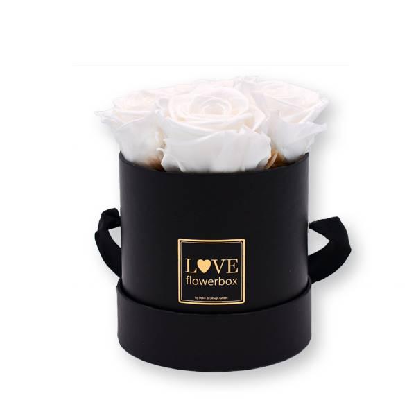Rosenbox Infinity Rosen weiß | Flowerbox | Blumenbox | Small Modern black gold