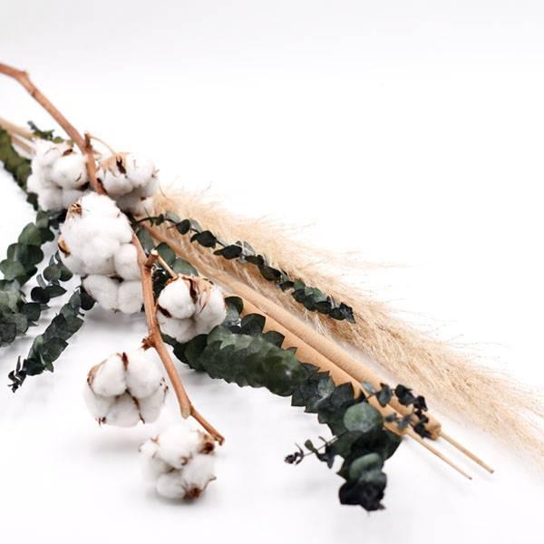 Trockenblumenstrauß Mix | Set Boho | Trockenblumen weiss-natur-grün | Pampasgras, Baumwolle, Eukalpytus