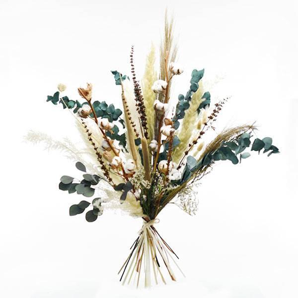 Trockenblumenstrauß Natur Pur XL | Trockenblumen weiss-natur-grün Eukalyptus, Baumwolle, Pamapsgras