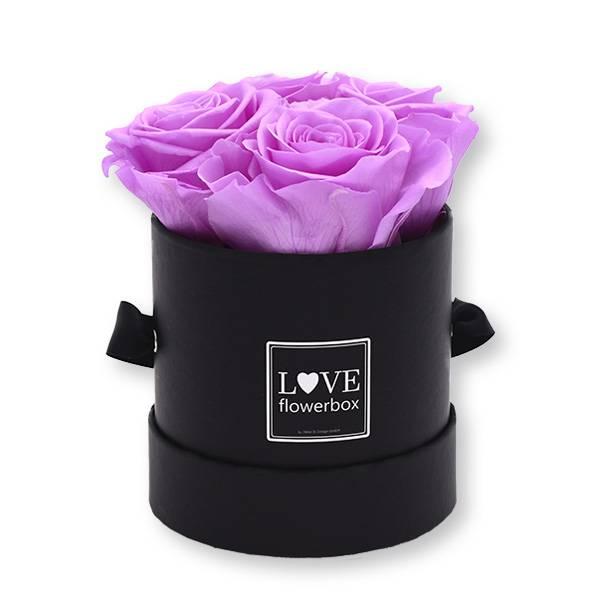 Flowerbox_rosenbox_blumenbox_rund_Small_schwarz_Infinity_Rosen_babylili_flieder.jpg