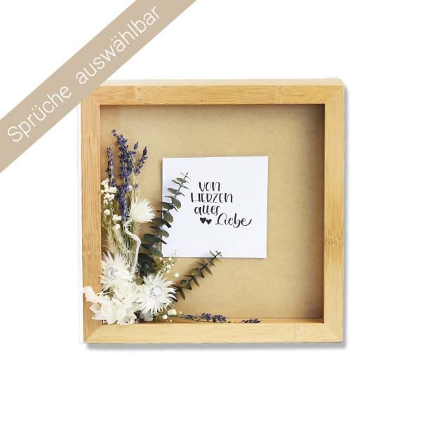 Trockenblumen Bilderrahmen Spruch | Natur | weiss-natur-grün | Eukalyptus, Lavendel, Capblume, Strohblume, Schleierkraut