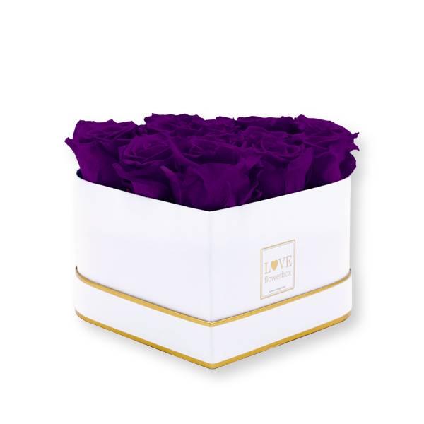 Rosenbox Herz Infinity Rosen dunkellila | Flowerbox Herzbox | M white gold