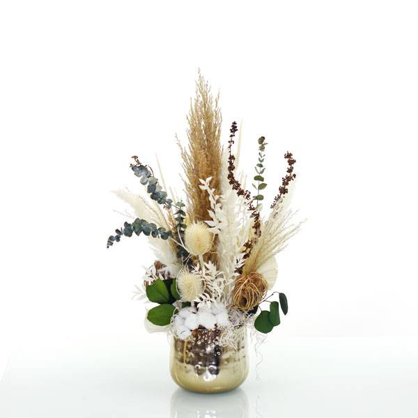Trockenblumen Gesteck | Metall Topf gold | Natur Pur M | weiss-natur-grün-braun | Pampasgras, Eukalyptus, Ruskus, Disteln, Baumwolle