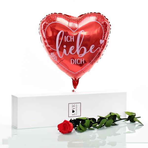 Flowerbox Set Langstiel Rose   Rosen Vibrant Red   Heliumballon