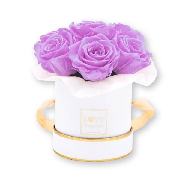 Flowerbox_rosenbox_blumenbox_rund_Small_weiss_gold_Bouquet_Infinity_Rosen_babylili_flieder_1.jpg