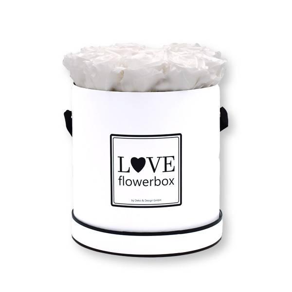 Rosenbox Infinity Rosen weiß   Flowerbox   Blumenbox   Large Modern white