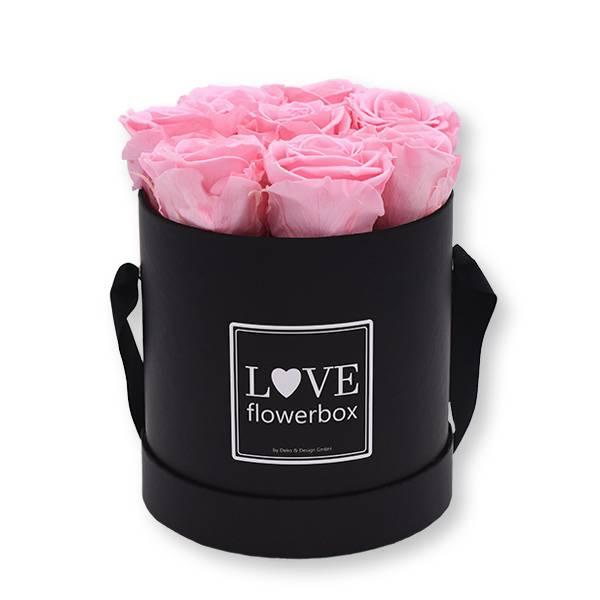 Rosenbox Infinity Rosen rosa | Flowerbox | Blumenbox | Medium Modern black